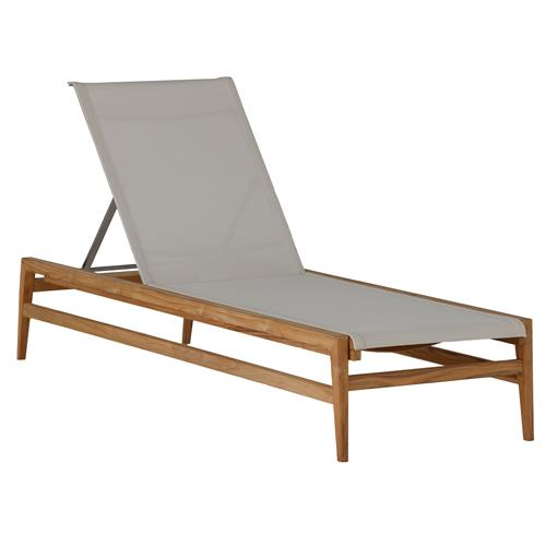 Summer Classics Coast Teak Sling Canvas Outdoor Chaise Lounge | Kathy Kuo Home