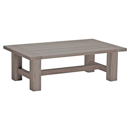 Summer Classics Croquet Weathered Grey Teak Outdoor Coffee Table | Kathy Kuo Home