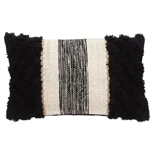 Rustic Lodge Ivory Black Textured Pillow - 12x20 | Kathy Kuo Home