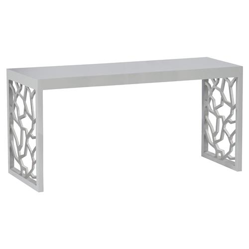 Branch Modern Smooth Grey Console Table | Kathy Kuo Home