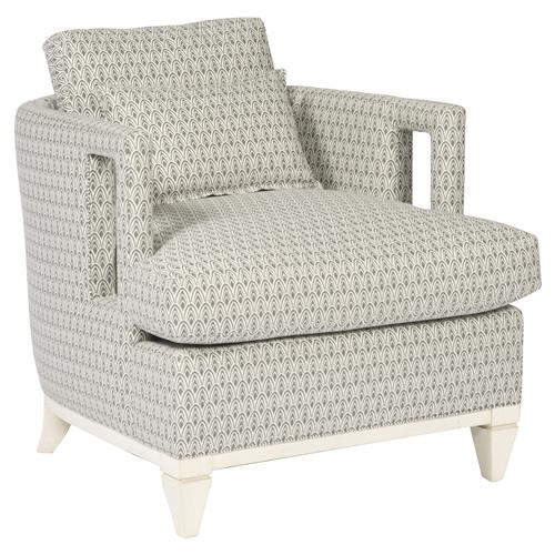 Harlee Grey Patterned Ivory Window Armchair | Kathy Kuo Home