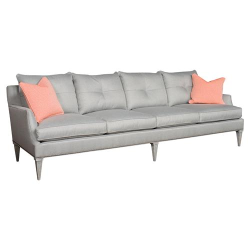 Iola Retro Modern Extended Grey Sofa | Kathy Kuo Home