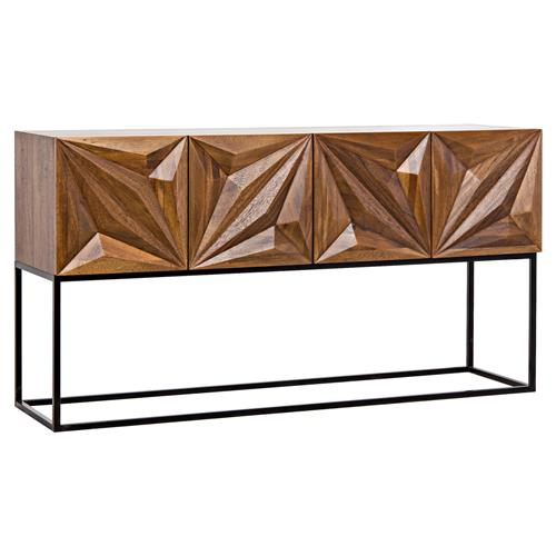 Max Modern Faceted Walnut Wood Console Cabinet | Kathy Kuo Home