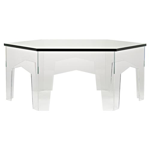 Brielle Modern Glass Hexagon Acrylic Coffee Table | Kathy Kuo Home