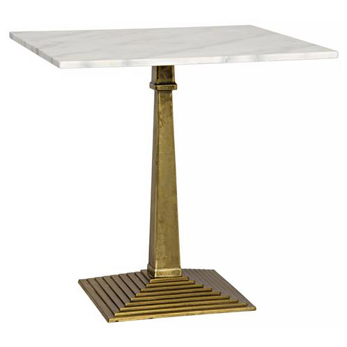 Andres Hollywood Regency Brass Pyramid White Stone End Table | Kathy Kuo Home