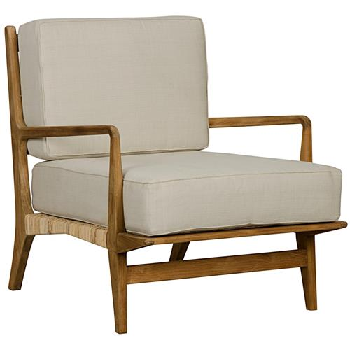 Lorelle Rustic Teak Rattan Cotton Upholstered Chair | Kathy Kuo Home