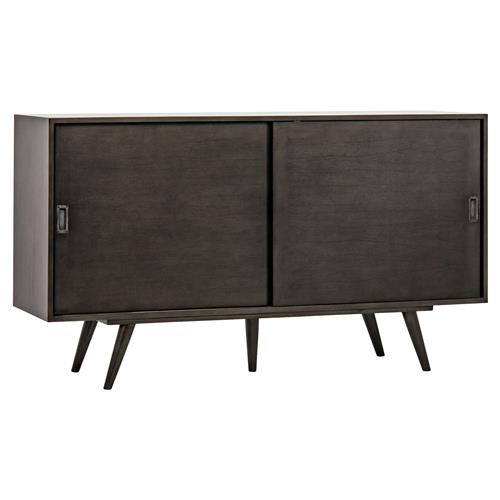 Richard Loft Pale Black Mid Century Sideboard | Kathy Kuo Home