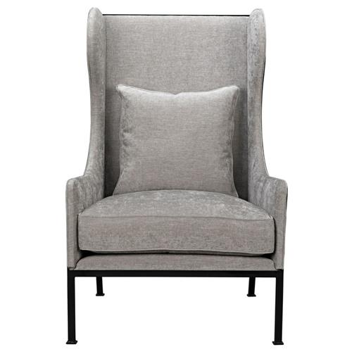 Alina Loft Steel Frame Natural Beige Wing Chair | Kathy Kuo Home
