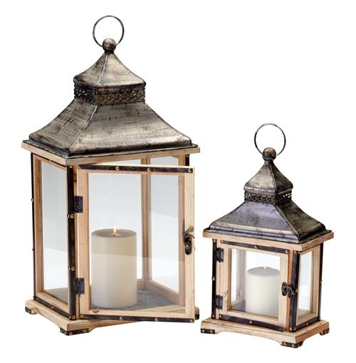 Oxford Rustic Lodge Iron Wood Candle Lanterns- Set of 2 | Kathy Kuo Home