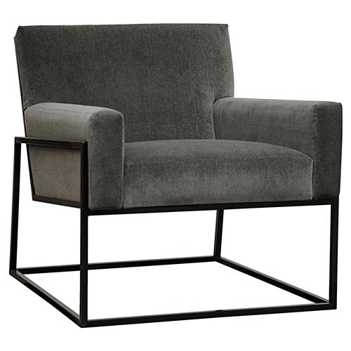 Dallas Industrial Graphite Grey Steel Armchair | Kathy Kuo Home
