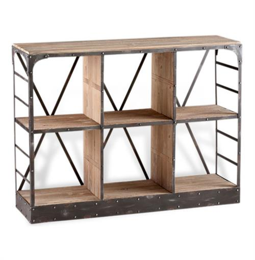 Newberg Industrial Loft Modern Wood Steel Standing Shelf | Kathy Kuo Home