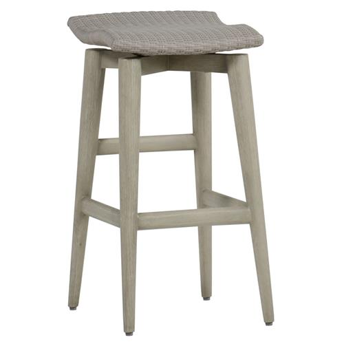Summer Classics Wind Oyster Grey Wicker Outdoor Barstool | Kathy Kuo Home