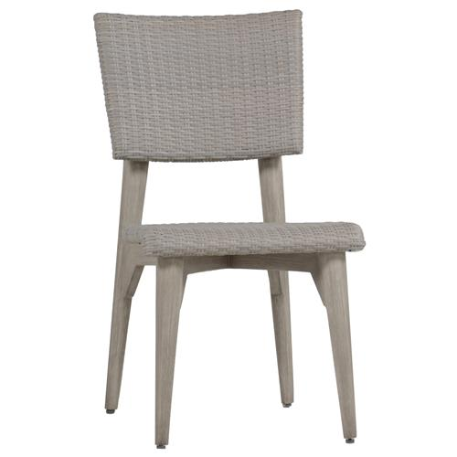 Wind Oyster Grey Wicker Outdoor Side Chair | Kathy Kuo Home