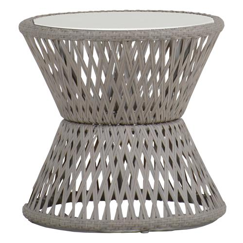 Echo Woven Grey Hourglass Outdoor End Table | Kathy Kuo Home