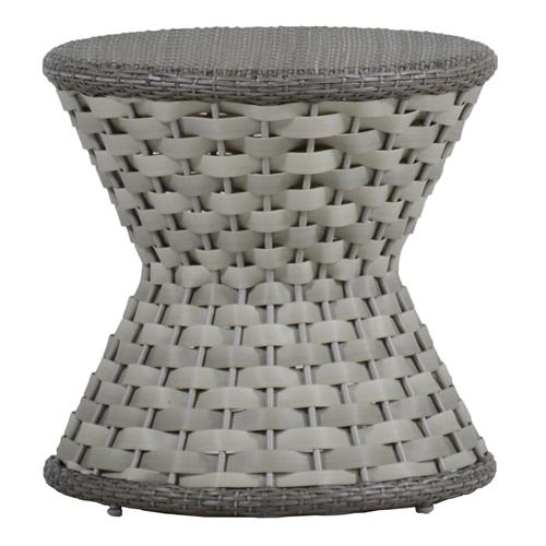 Joanna Woven Grey Resin Outdoor End Table | Kathy Kuo Home