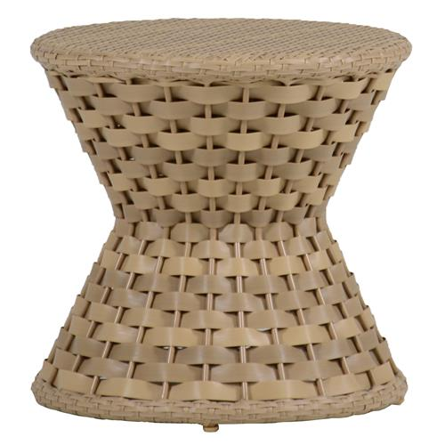 Joanna Woven Natural Resin Outdoor End Table | Kathy Kuo Home