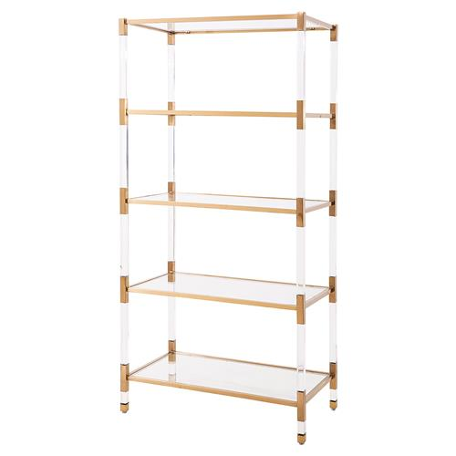 Maelie Modern Acrylic Antique Gold Etagere | Kathy Kuo Home