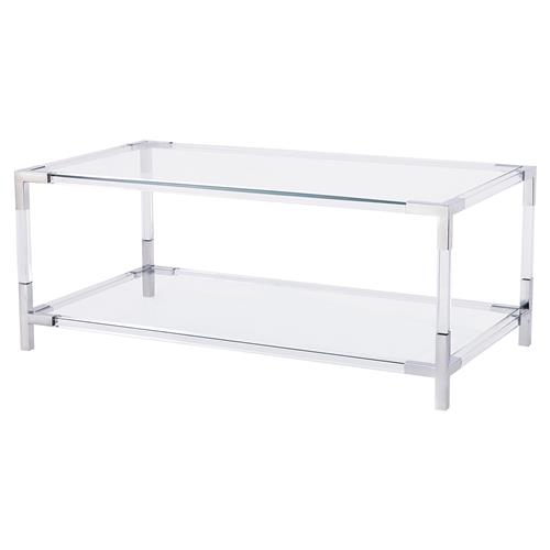 Maelie Modern Acrylic Stainless Steel Coffee Table | Kathy Kuo Home