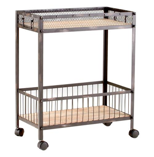 Industrial Loft Raw Steel Reclaimed Wood Iron Serving Bar Cart | Kathy Kuo Home