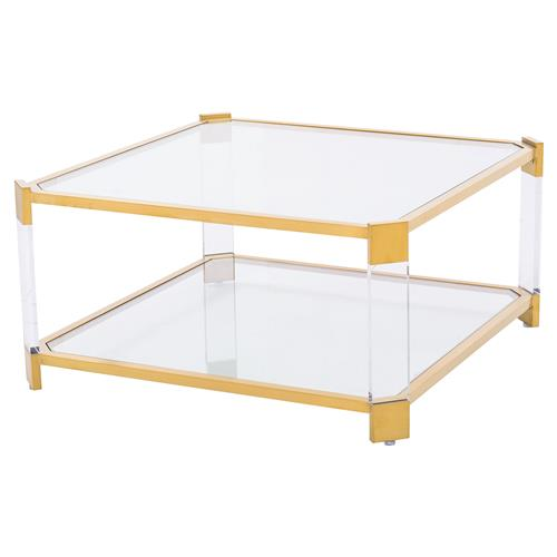 Warren Acrylic Gold Angle Square Coffee Table | Kathy Kuo Home