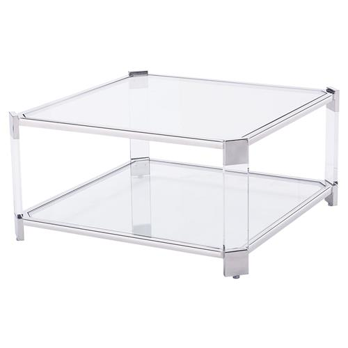 Warren Acrylic Silver Angle Square Coffee Table