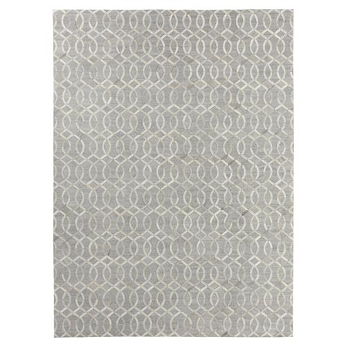 Exquisite Rugs Creston Trellis Silver Stitched Hide Rug - 5x8 | Kathy Kuo Home