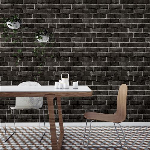 Black and Grey Textured Brick Industrial Loft Removable Wallpaper | Kathy Kuo Home