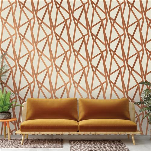 Bronze Metallic Geometric Removable Wallpaper | Kathy Kuo Home