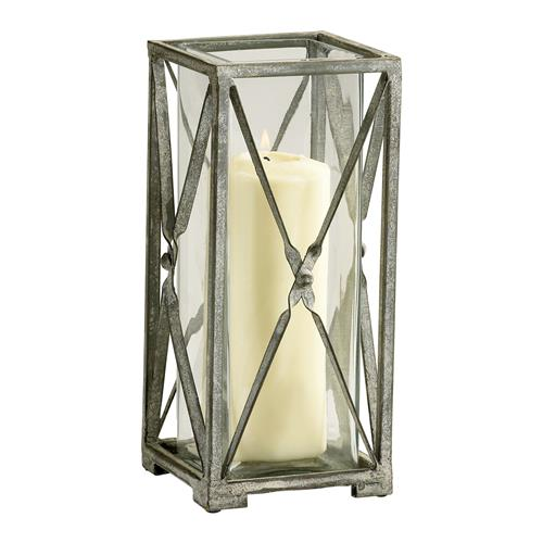 Antique Moss Grey Wash Wrought Iron Square Candle Lantern - 11 Inch | Kathy Kuo Home