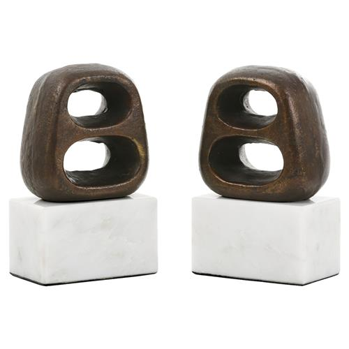 Delpha Global Bazaar Bronze White Marble Bookends | Kathy Kuo Home