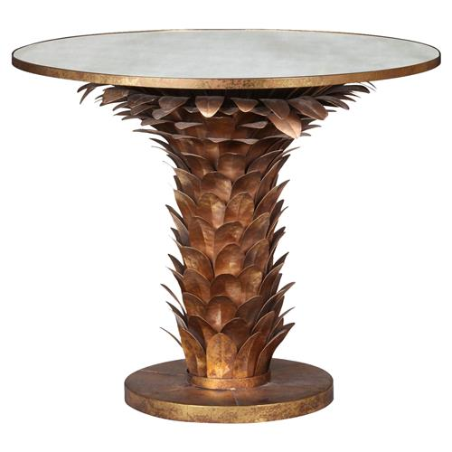 Allegra Hollywood Regency Gold Laurel Leaf Round Dining Table | Kathy Kuo Home