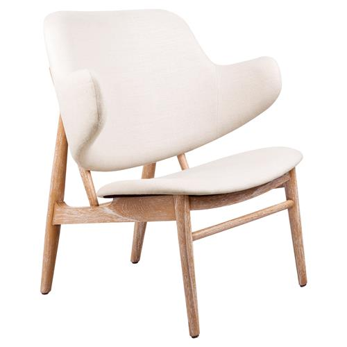 Frazure Midcentury Modern White Oak Lounge Chair | Kathy Kuo Home