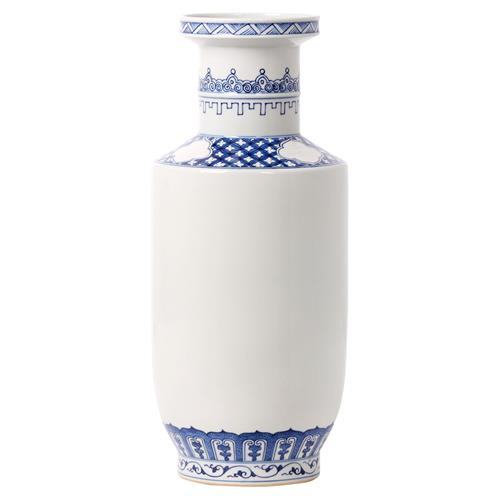 Neel Global Bazaar Blue and White Geometric Porcelain Vase | Kathy Kuo Home