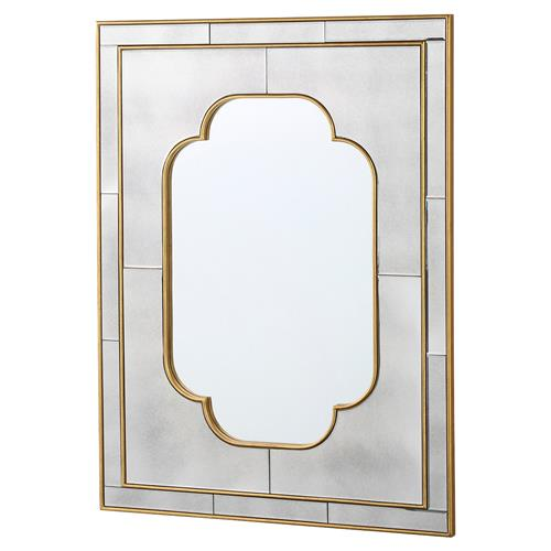 Drena Hollywood Regency Quattrefoil Antique Mirror Wall Mirror