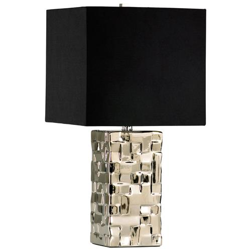 Java Masculine Chunky Silver Square Table Lamp | Kathy Kuo Home