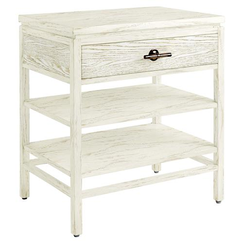 Daniella coastal beach white wood nightstand kathy kuo home for White wood nightstand