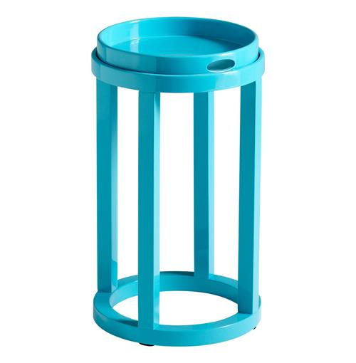Marcella Coastal Beach Turquoise Cyan Blue Tray Top Side Table | Kathy Kuo Home