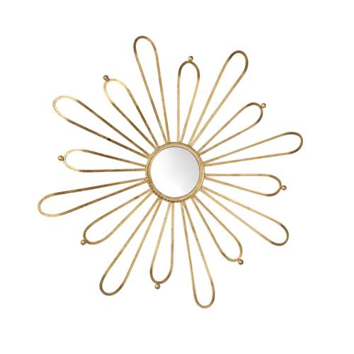 Cleopatra Antique Gold Leaf Sunburst Loop Iron Mirror | Kathy Kuo Home