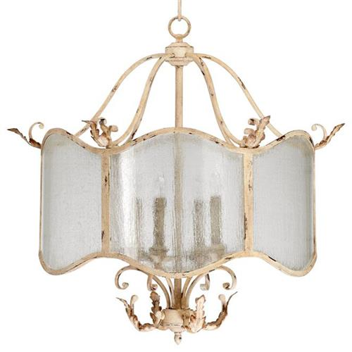 Maison French Country Antique White  4 Light Nook Chandelier | Kathy Kuo Home