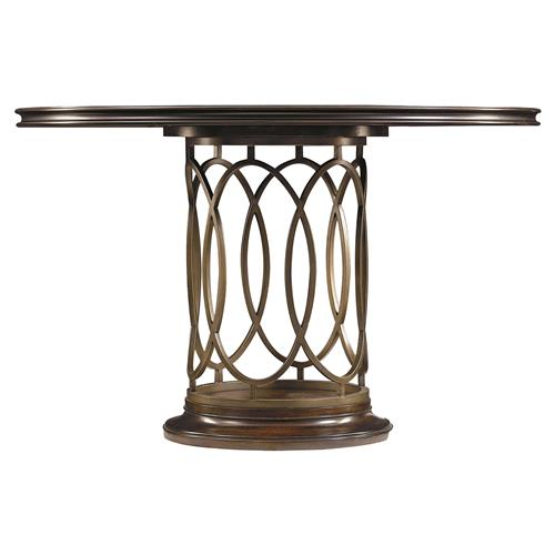 Sabrina Modern Classic Round Metal Pedestal Dining Table
