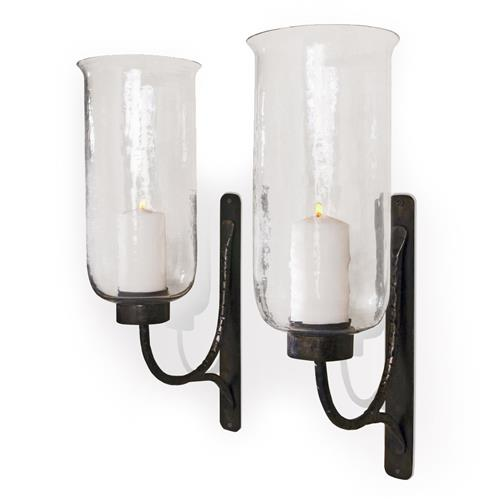 Pescara Contemporary Rustic Iron and Glass Candle Sconces | Kathy Kuo Home