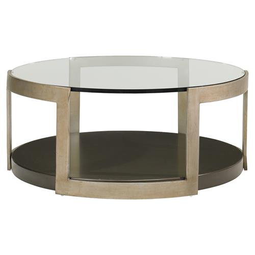Sonja Industrial Loft Gold Metal Round Glass Coffee Table Kathy Kuo Home