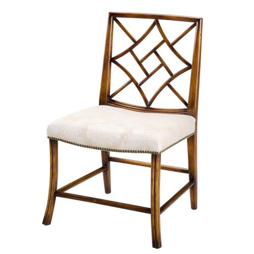 Margaux french country walnut nailhead trim dining chair pair kathy kuo home - Nailhead dining room chairs ...