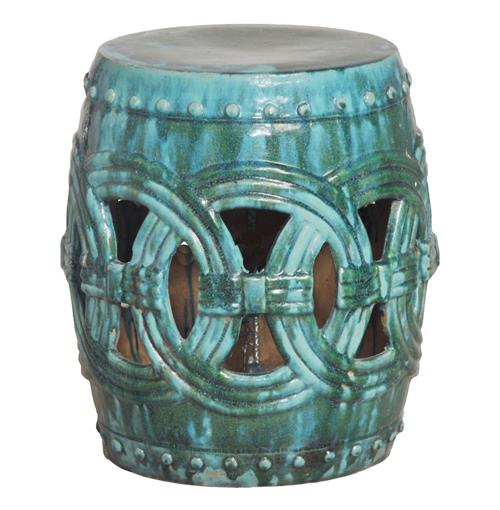 Pierced Linked Green Fortune Asian Ceramic Garden Seat Stool | Kathy Kuo Home