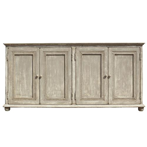 Lucas French Country Provincial Pine 4 Door Sideboard | Kathy Kuo Home
