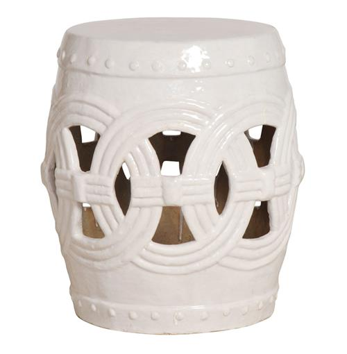 White Pierced Linked Fortune Asian Ceramic Garden Seat Stool | Kathy Kuo Home