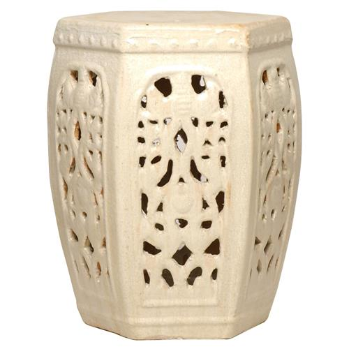 Hexagon Pierced Ceramic Garden Stool- Champagne Antique White Glaze | Kathy Kuo Home