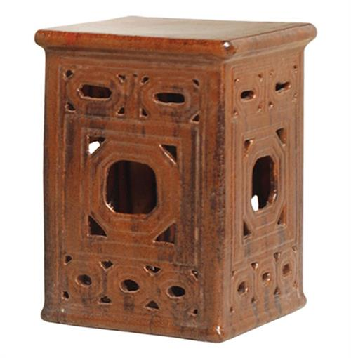 Square Asian Lattice Pierced Garden Seat Stool- Antique Brown Glaze | Kathy Kuo Home