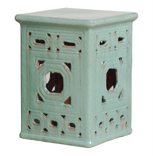 Square Lattice Pierced Garden Seat Stool- Light Turquoise Blue Glaze | Kathy Kuo Home