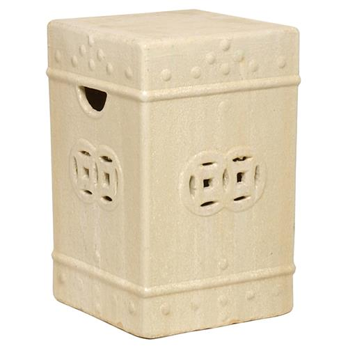 Square Asian Garden Stool End Table- Antique White Champagne Glaze | Kathy Kuo Home